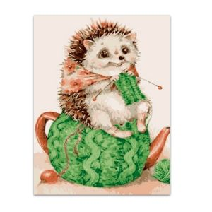 Painting by numbers 20x30cm - Hedgehog is cozy MC1076e
