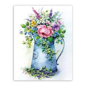 Diamond painting 40x50cm - Romantic bouquet in a watering can LG149e