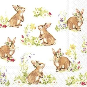 Decoupage napkins 33x33cm, 20 pcs. - Sweet Lovely Bunnies L851190