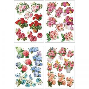 3D stickers, Flowers, 4 pc. A4 - C28703