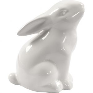 Ceramic Rabbit figure, 1 pcs, 9x5,5 cm, white - C50579