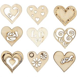 Wooden Decorations - Hearts 28 mm, 45 pc - C52375
