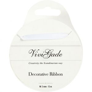 Decoration Ribbon, W: 6 mm, White, 15 M C52473