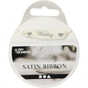 Satin Ribbon,  W: 10 mm, Off-white, 8 M, 1 Roll, C513671