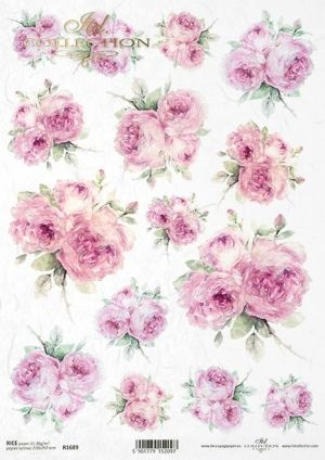 Decoupage Rice Paper А4 - Painted roses ITD-R1689
