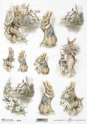 Decoupage Rice Paper А4 - Vintage bunnies ITD-R1578