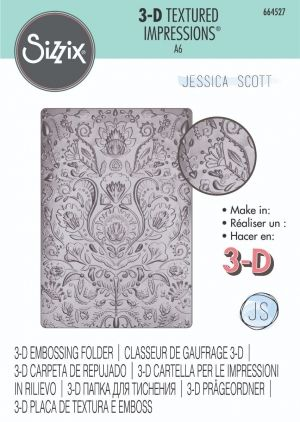 Sizzix 3-D Textured Impressions Embossing Folder - Folk Doodle 664527
