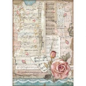 Decoupage Rice Paper A4 - Passion roses and music DFSA4539