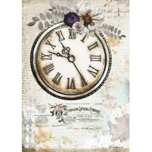 Decoupage Rice Paper A4 - Romantic Journal clock DFSA4555