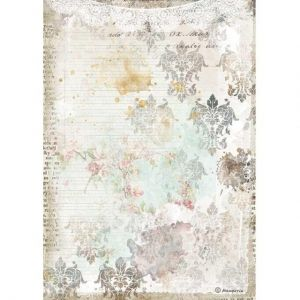Decoupage Rice Paper A4 - Romantic Journal texture with lace DFSA4556