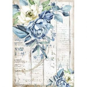 Decoupage Rice Paper A4 - Romantic Sea Dream blue flower DFSA4560