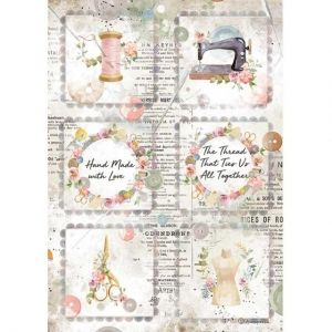 Decoupage Rice Paper A4 - Romantic Threads mini cards DFSA4568