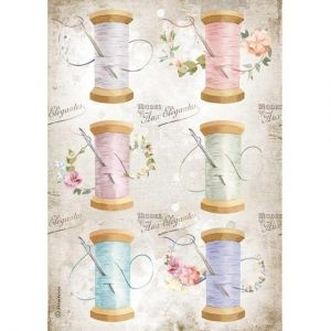Decoupage Rice Paper A4 - Romantic Threads needle and thread DFSA4567