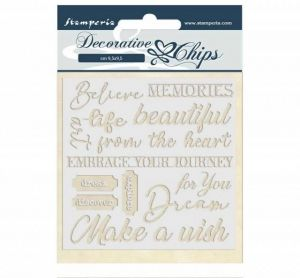 Chipboard 14x14 cm - Atelier des Arts quotes SCB46