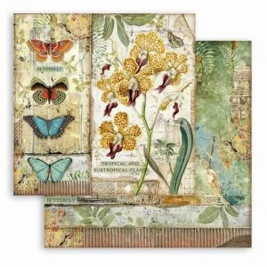 "Double face scrap paper 12""x12"" - Amazonia orchid and butterfly SBB766"