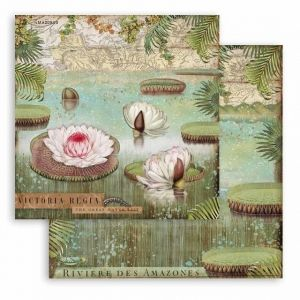 "Double face scrap paper 12""x12"" - Amazonia water lily SBB764"