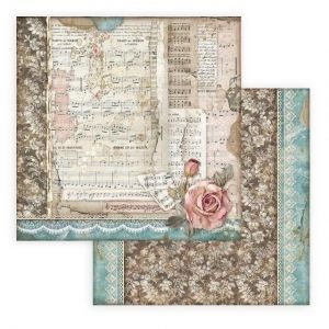 "Double face scrap paper 12""x12"" - Passion roses and music SBB770"