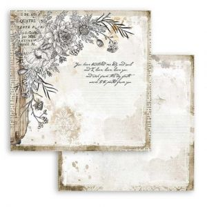 "Double face scrap paper 12""x12"" - Romantic Journal corner with flower SBB781"