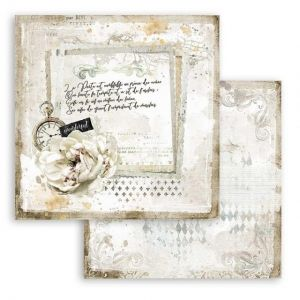 "Double face scrap paper 12""x12"" - Romantic Journal letter and clock SBB783"
