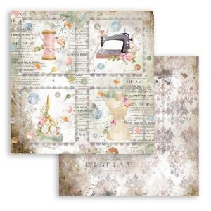 "Double face scrap paper 12""x12"" - Romantic Threads cards SBB792"