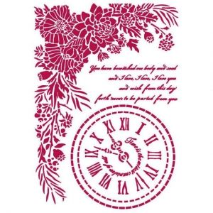 Stencil 21x29,7cm - Romantic Journal clock KSG465
