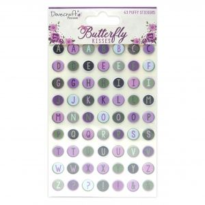 Dovecraft Shaker Stickers (63pcs) - Butterfly Kisses Puffy AlphabetDCSTK097