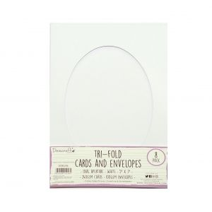 Tri-fold Cards and Envelopes, 8 pc., A5, white, DCBS256