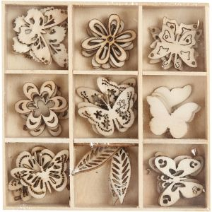 Wooden Decorations - Summer 28 mm, 45 pc - C52377