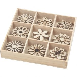 Wooden Decorations - Flowers 28 mm, 45 pc - C52376