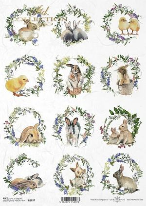 Decoupage Rice Paper А4 - Easter chickens and bunnies ITD-R1827