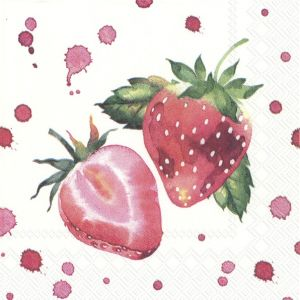 Decoupage napkins 25x25cm 20pcs -  Soft strawberries C853600