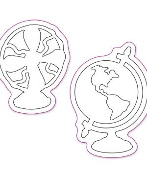 Sizzix Movers & Shapers Magnetic Die - Vintage Fan & Globe Set 657838