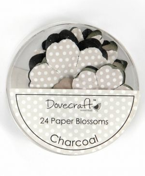 Paper blossoms 24pcs - Charcoal DCBB01-01