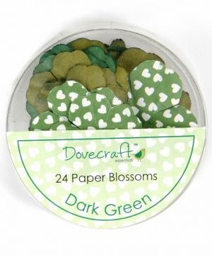 Paper blossoms 24pcs - Dark Green DCBB01-06