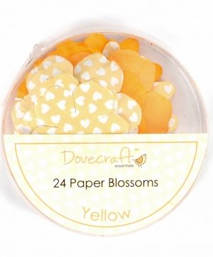 Paper blossoms 24pcs - Yellow DCBB01-07