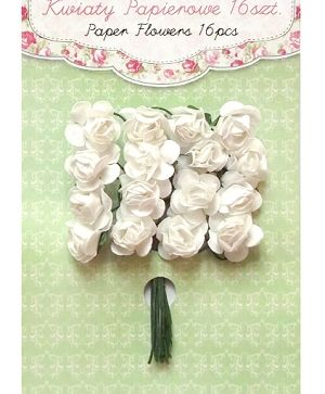 Paper flowers 16 pcs - White CEKP-011